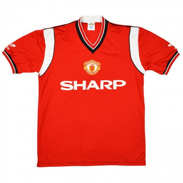 Maillot Foot Manchester United 1ª Retro 1984 1986 Rouge